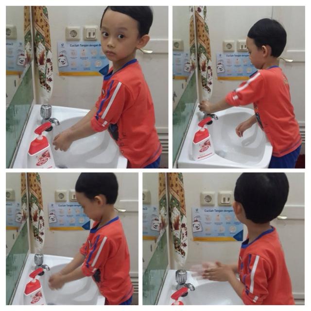 Perhatikan cara mencuci tangan yang benar ya nak :D